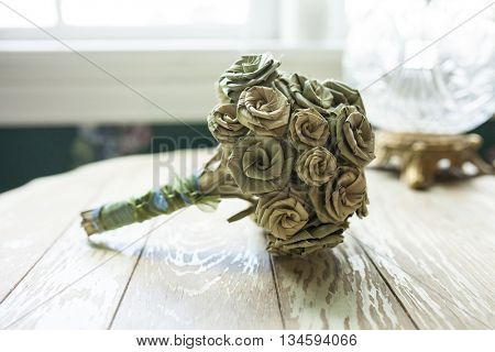 Bridal bouquet made of dried palmetto leaves