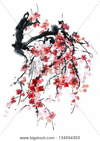 Watercolor and ink illustration in style sumi-e u-sin. Oriental traditional painting