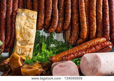 Meat heaven. Fresh ham, bacon and salad.