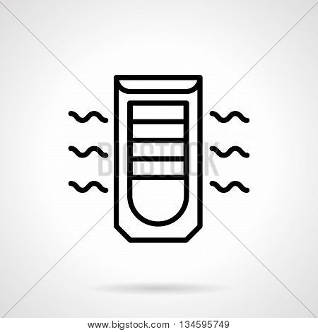 Mobile air conditioning device. Household equipment and appliances, modern climatic technics. Simple black line vector icon.