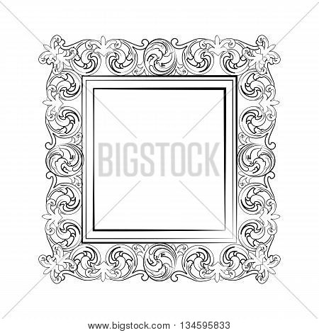 Elegant Baroque royal frame with luxurious damask ornaments. Vector