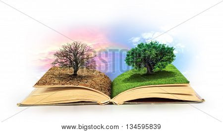 Concept of changes. Open book. One side full of grass with a life tree different side is desert with a dead tree. Concept of doubleness.