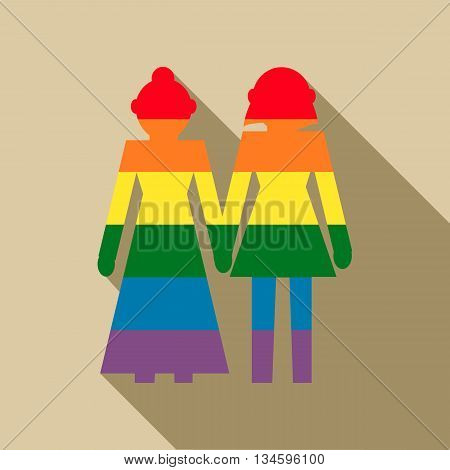 Female couple in rainbow colors icon in flat style on a beige background