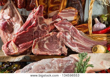 Still life of meat products, meat heaven.