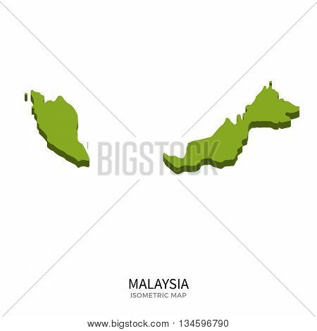 Isometric map of Malaysia detailed vector illustration. Isolated 3D isometric country concept for infographic