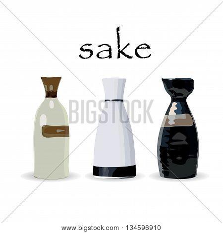 Traditional bottle of sake. Colored vector illustration.