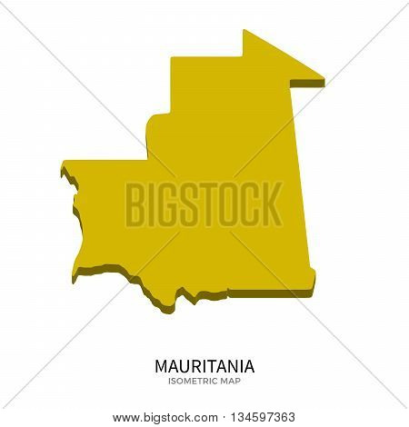 Isometric map of Mauritania detailed vector illustration. Isolated 3D isometric country concept for infographic