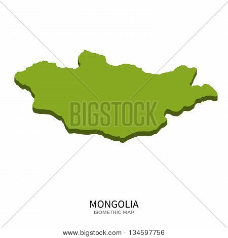 Isometric map of Mongolia detailed vector illustration. Isolated 3D isometric country concept for infographic