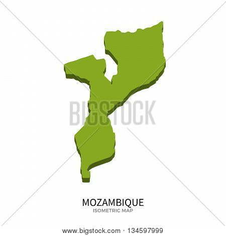 Isometric map of Mozambique detailed vector illustration. Isolated 3D isometric country concept for infographic