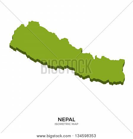 Isometric map of Nepal detailed vector illustration. Isolated 3D isometric country concept for infographic