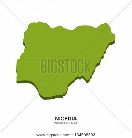 Isometric map of Nigeria detailed vector illustration. Isolated 3D isometric country concept for infographic