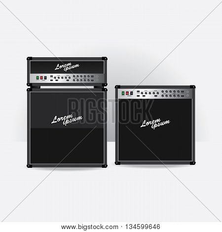 Guitar amplifier set vector illustration with White Background