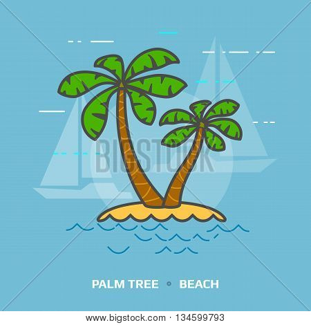 Flat illustration of tropical palm tree against blue background. Flat design of beach palms, front view. Vector illustration about travel concept, southern nature, resort, tropical flora, beach, etc