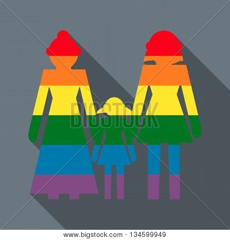 Lesbian couple with baby girl icon in flat style on a grey background