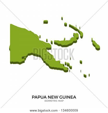 Isometric map of Papua New Guinea detailed vector illustration. Isolated 3D isometric country concept for infographic