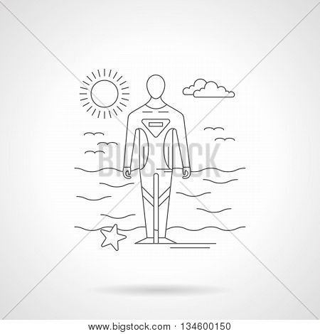 Seascape with sunny sky and diver in water protective wear. Diving and surfing waterproof suit, sport clothing. Detailed flat line vector illustration.