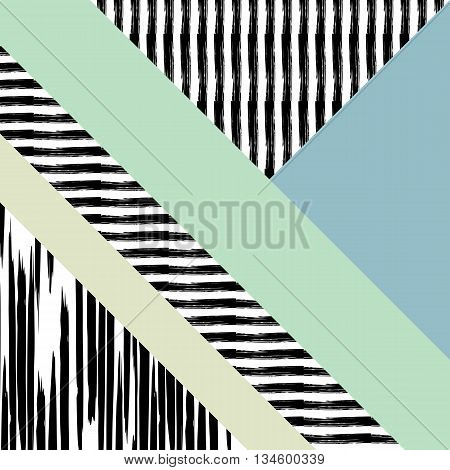 Abstract hand drawn geometric pattern, or background, brush painted elements. Poster, card, textile,paper pattern. Color  mint green, yellow.