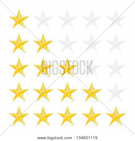 Simple Stars Rating. Gold Shapes with Shadow on White Background
