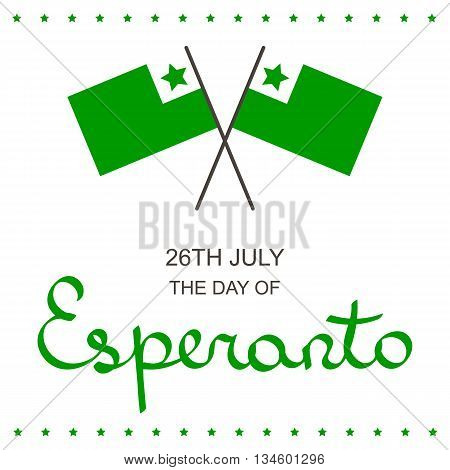 Esperanto language day lettering card with flags isolated on white background.