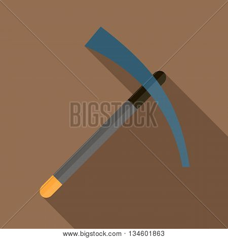 Pick tool icon in flat style on a brown background