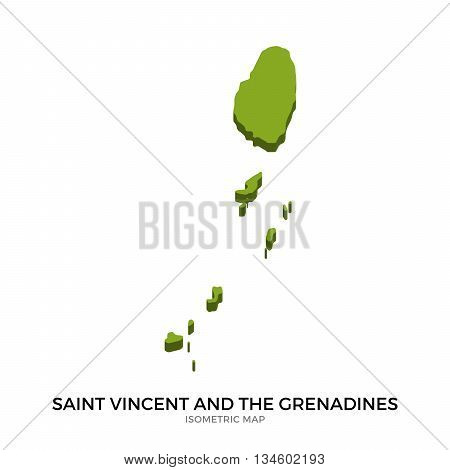 Isometric map of Saint Vincent and the Grenadines detailed vector illustration. Isolated 3D isometric country concept for infographic