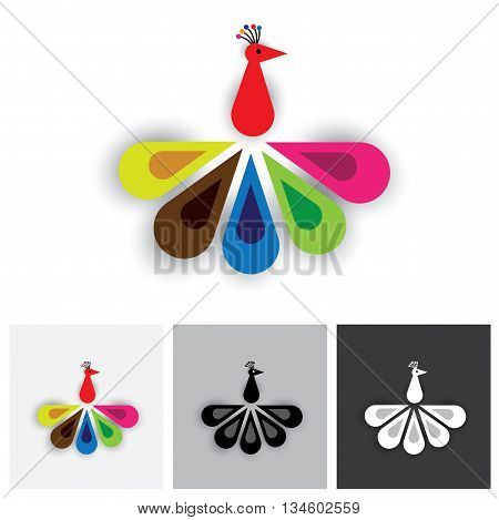Bird Of Paradise Or Colorful Feathers Of Peacock - Vector Logo Icon