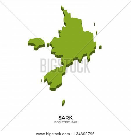 Isometric map of Sark detailed vector illustration. Isolated 3D isometric country concept for infographic