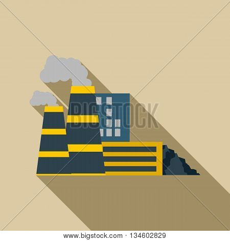 Mining processing plant icon in flat style on a beige background