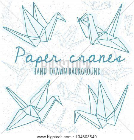 Hand drawn line paper crane set. Origami on white background