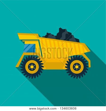 Dump truck with coal icon in flat style on a turquoise background