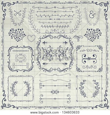 Pen Drawing Sketched Decorative Doodle Design Elements. Frames, Text Frames, Dividers, Floral Branches, Borders, Brackets on Crumpled Notebook Texture. Vector Illustration