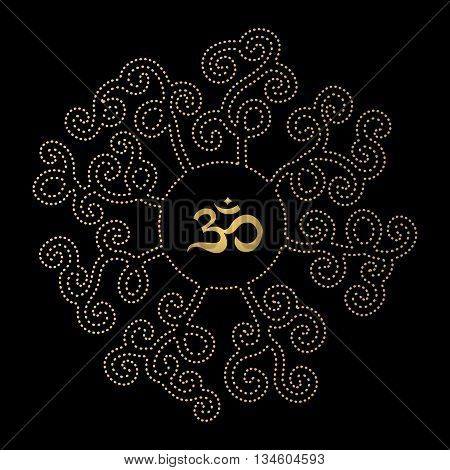 Design element with mandala and Om sign on black background. Eastern decoration. Gold Om sign.