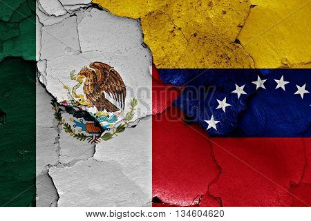 Flags Of Mexico And Venezuela Painted On Cracked Wall