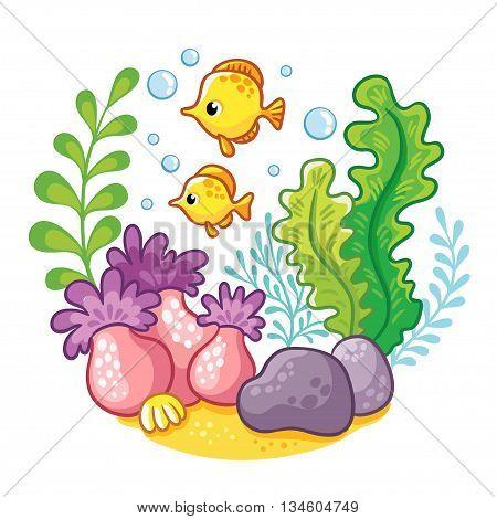 artoon underwater life. Vector illustration. Cartoon concept of wildlife in the ocean.