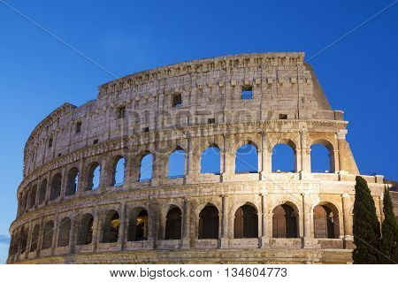 Colosseum by night in Rome Italy, Europe