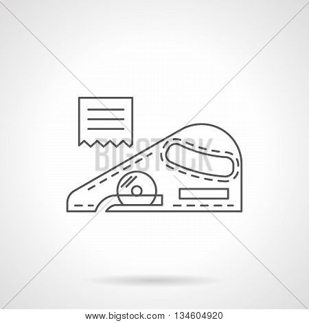 Knife for cutting linoleum. Construction and repair tools and instruments. Flooring and renovations services symbol. Flat line style vector icon.