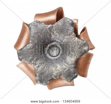 Hollow point bullet with a copper covering that is expanded and isolated on white