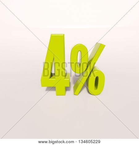 3d render: green 4 percent, percentage discount sign on white, 4%