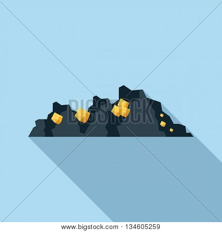 Gold mine icon in flat style on a light blue background