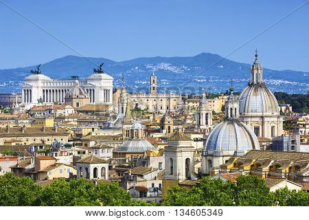 Famous aerial view of Rome Italy Europe