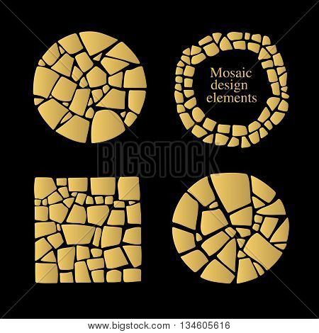Set of Mosaic design elements in different forms. Golden mosaic textures.