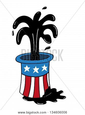 Top hat decorated with elements of the USA flag from which oil is gushing and also pouring out onto the ground
