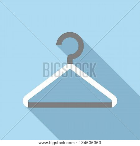 White coat hanger icon in flat style on a light blue background