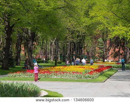 Moscow - May 7 2016: Visitors to the Moscow Kremlin admire the long flower bed with tulips in the park of the Grand Kremlin May 7 2016 Moscow Russia