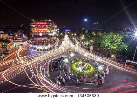 HA NOI, VIET NAM, April 2, 2016: center of Ha Noi, Vietnam, seen from above