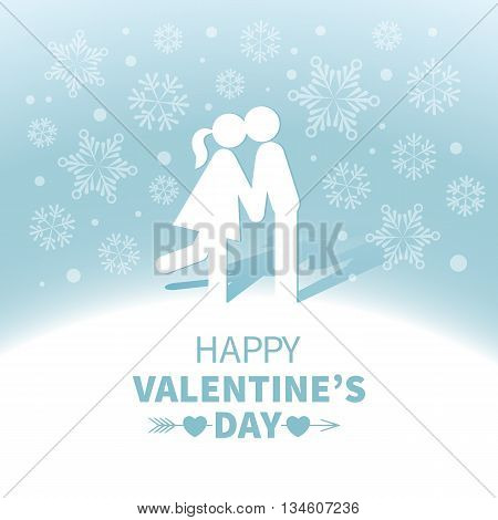 Light Valentines Day card with kissing sweethearts on the blue background with white snowflakes