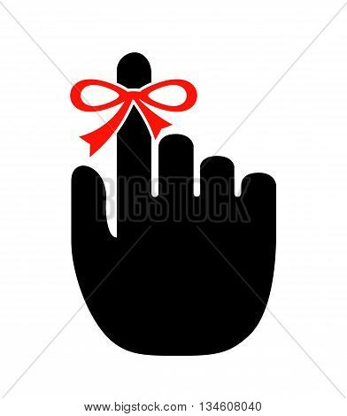 Reminder finger icon isolated on white background