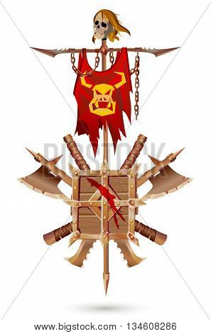 Coat of Arms to fantasy style. Roughly made weapons covered with rust on a white background. Shield sword ax standard with a skull and chains.