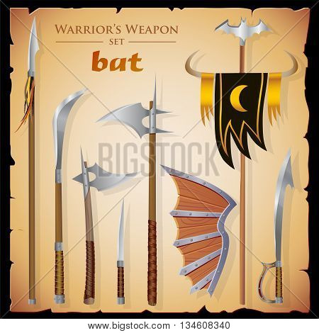 Set short-range weapon designed in the style of fantasy. Swords axes knife spear shield standard background in the form of parchment. Colored vector illustration