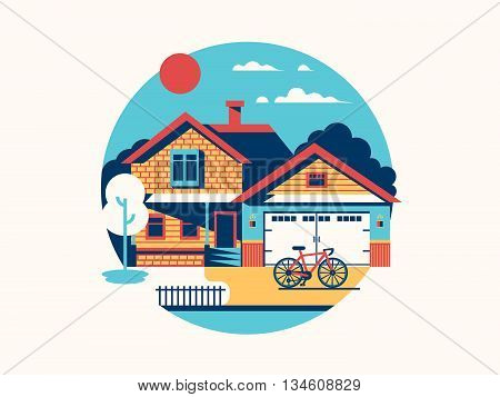 House icon isolated flat. Home building and residential architecture, vector illustration